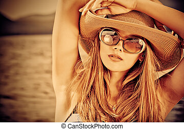 sepia portrait - Portrair of a beautiful young woman over...
