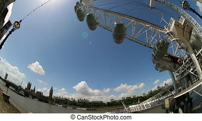 fisheye timelapse shots of the london eye