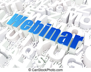 Education concept: Webinar on alphabet background -...