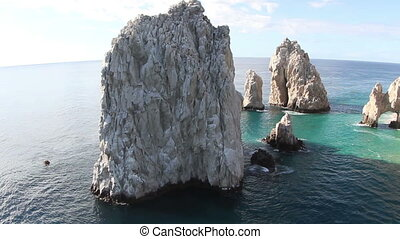 the los arcos rock formation shot from the air baja...