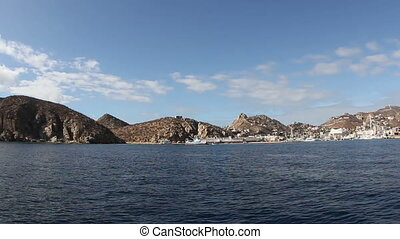 the los arcos rock formation shot from a boat, baja...