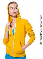 Portrait of modern teenager girl looking on copy space