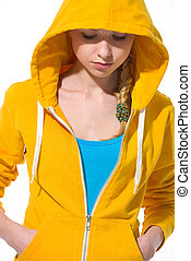 Modern teenager girl in sweater with draped hood