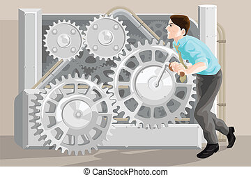 Business concept - A vector illustration of businessman...