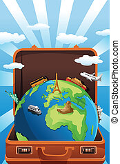 Travel concept - A vector illustration of suitcase with...