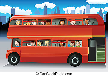 People in a bus - A vector illustration of different people...