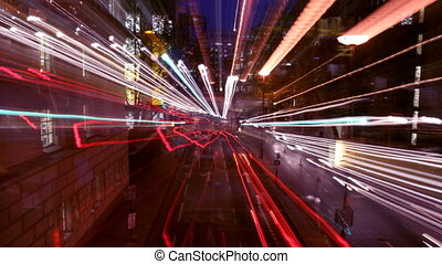 time-lapse traffic and street scene shot at night in london,...
