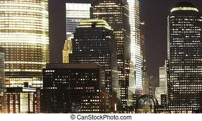 view of lower manhattan skyline from across the river in new...