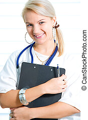 Portrait of the young blonde nurse with sthetoscope