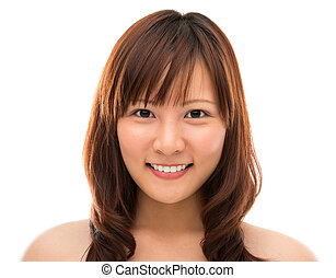 Face closeup Asian - Female beauty portrait Face closeup of...