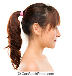 Asian woman profile Smiling young beautiful Asian woman...