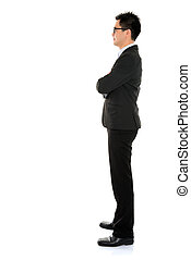 Full body side view Asian business man