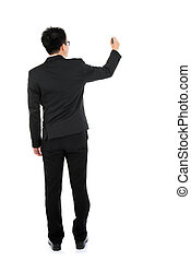 Back view full body business man writing - Back view full...