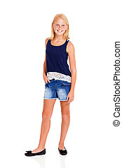 pre teen girl full length portrait on white