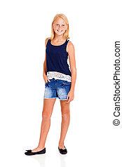 pre teen girl full length portrait on white