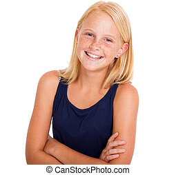 cute pre teen girl half length portrait on white