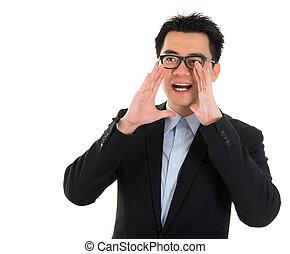 Asian business man shouting - Young Asian business man...