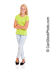 beautiful pre teen girl full length portrait isolated on...