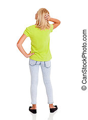 pre teen girl thinking - rear view of pre teen girl thinking