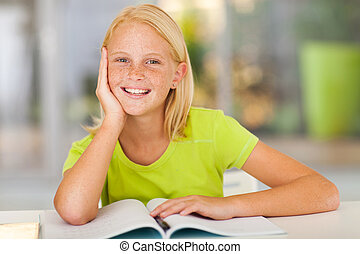 cute preteen girl portrait at home