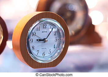 clock on a transparent table