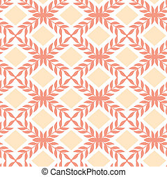 Peach orange argyle retro seamless pattern background -...