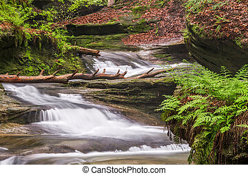 Hocking Hills Cascade - Cascading waterfalls flow down the...