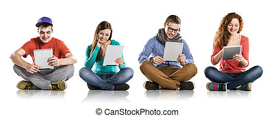 Young people with tablets - Beautiful young people with...
