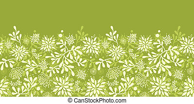 Green underwater plants horizontal seamless pattern background border
