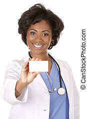 doctor holding business card