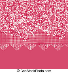 Blue lace flowers horizontal seamless pattern background border