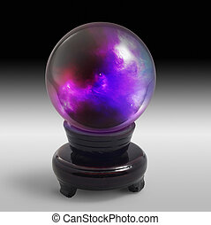 crystal ball on stand in light back - a mystic crystal ball...