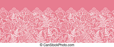 Lace leaves horizontal seamless pattern background border