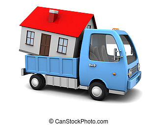 house transportation - 3d illustration of truck with house...