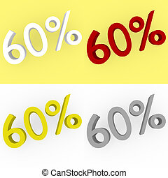 3d Render 60 percent in white, red, silver and gold
