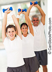 line up of family lifting dumbbells - line up of healthy...