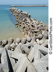 Breakwater with concrete blocks