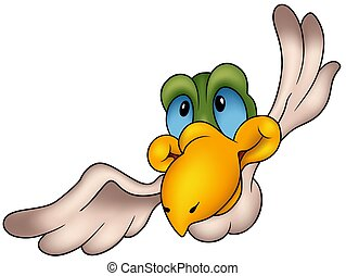 Flying Bird 09 - colored cartoon illustration