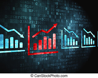 Business concept: Graph on digital background - Business...