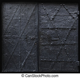 Black iron gothic doors