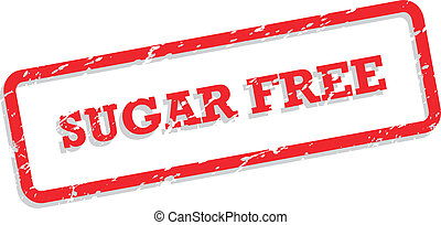 Sugar Free Rubber Stamp - Red rubber stamp vector for sugar...
