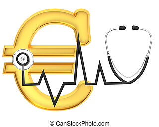 Euro sign and stethoscope