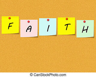 Faith Sticky Notes on Corkboard