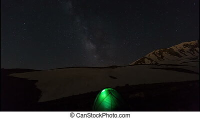 star time lapse - milky way at Erciyes Mountain Turkey