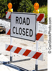 Road Closed Type III Barricade With Warning Lights - A...