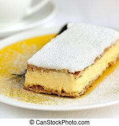 Vanilla Slice - Vanilla slice or mille feuille pastry.