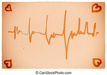 Electrocardiogram orange background - ecg ekg...