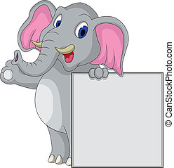 elephant cartoon with blank sign - vector illustration of...