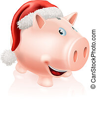 Christmas savings piggy bank - Illustration of a happy...