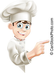 Cartoon Chef Pointing at Sign - Illustration of a cartoon...